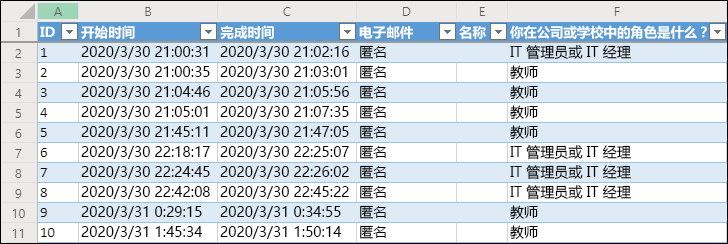 Excel 工作簿显示调查结果