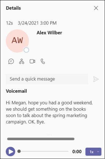 Teams-语音邮件详细信息屏幕