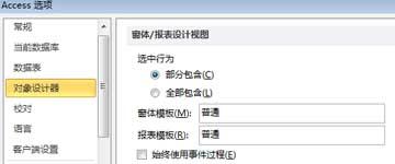 显示窗体和报表设计器设置选项