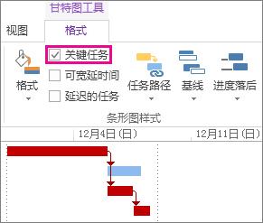"""Project 2013 中功能区上的""""关键任务""""复选框和突出显示的甘特条形图"""