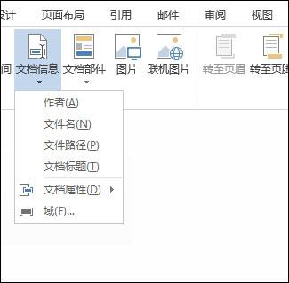 页眉和页脚的文档信息菜单
