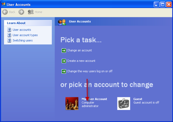Your user account type is listed beside your user account picture