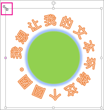艺术字上的尺寸控点(用于调整大小)