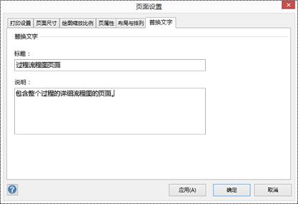 """Visio 中针对页面的""""替换文字""""对话框。"""
