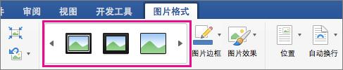 """在""""图片格式""""选项卡上,突出显示图片边框库。"""