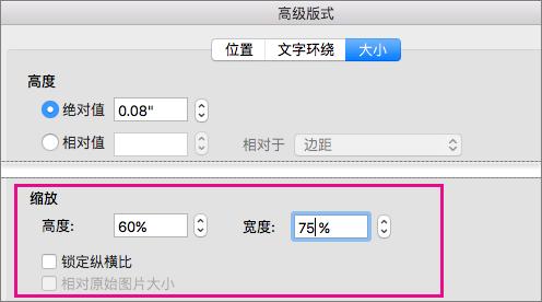 """在""""大小""""选项卡上的""""高级版式""""框中,突出显示""""缩放比例""""选项。"""