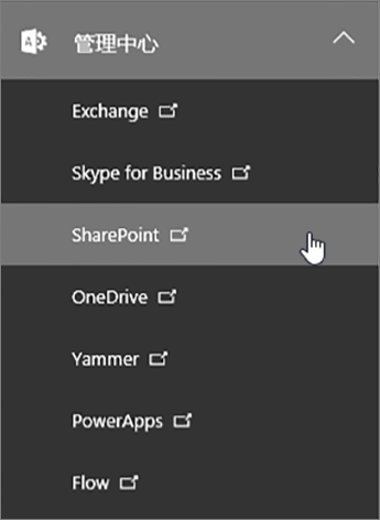 Office 365 管理中心列表(内含 SharePoint)。
