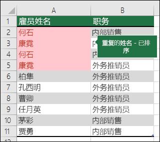 使用排序到列表顶部的重复值的条件格式