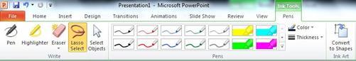 """PowerPoint 2010 功能区中""""墨迹工具""""下""""格式""""选项卡上的套索工具"""