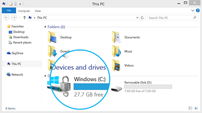 Check available storage in This PC