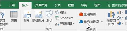 """在功能区的""""插入""""选项卡上,可找到用于管理 Excel 加载项的加载项组"""