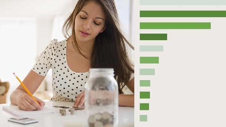 一位年轻女士坐在放有一罐硬币的厨房餐桌旁的照片