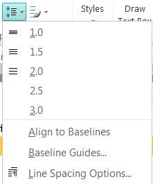 如何在 Publisher 中更改行距的屏幕截图。