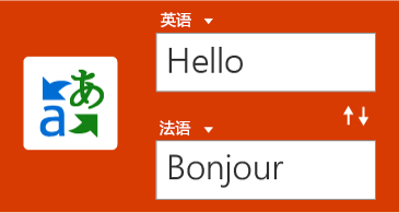 """""""翻译工具""""按钮,一个英语词语和其法语译文"""