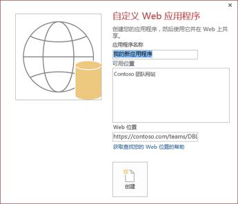 """新的""""自定义 Web 应用程序""""对话框,在""""可用位置""""框中显示康浦工作组网站。"""