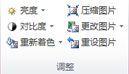 """Publisher 2010 中的""""图片工具""""选项卡上的""""调整""""组"""