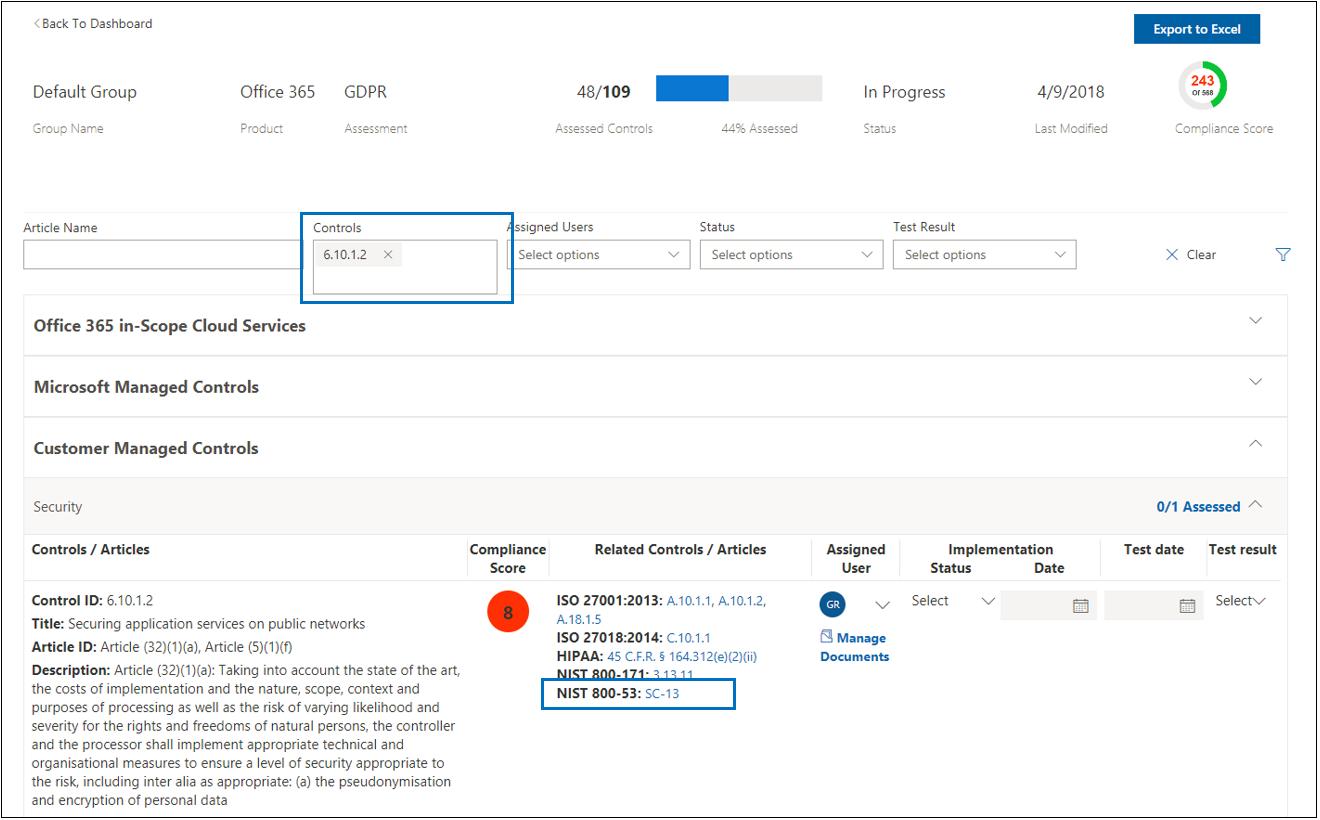 合规性管理器评估 - 共享控制措施