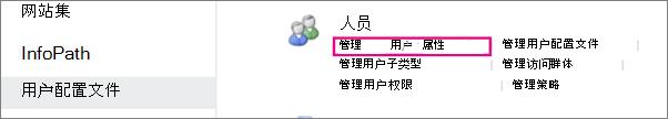 管理用户属性在管理用户配置文件下的链接。