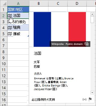 """含""""法国""""链接记录的单元格;光标单击着图标;出现的卡片"""