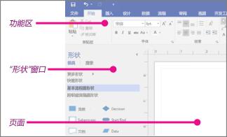 """顶部为功能区选项卡,左侧为""""形状""""窗口,右侧为""""页面"""""""