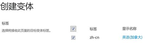 带复选框的屏幕截图显示应接收内容更新的变体网站。 包含的内容为变体标签及其相应的显示名称