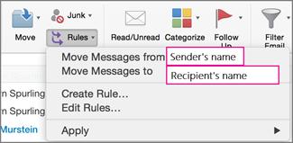 规则:移动邮件...