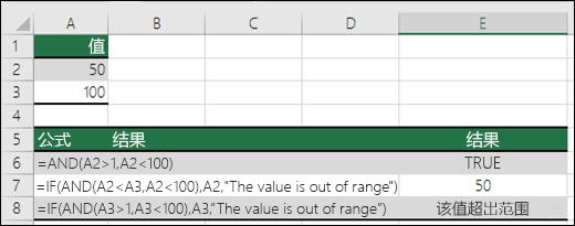 将 IF 函数与 AND 一起使用的示例