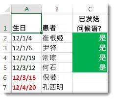 Excel 中的示例条件格式