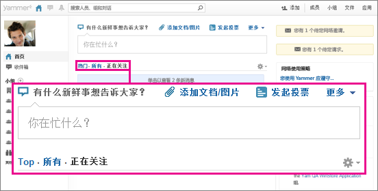 """Yammer 网站的屏幕截图,其中的粉红框突出显示了""""热门""""、""""全部""""和""""关注""""视图切换"""