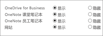 "一个列表,包含带""显示""或""隐藏""按钮的 OneDrive for Business、OneNote 课堂笔记本、OneNote 教职员工笔记本和网站。"
