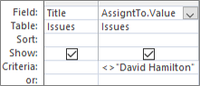 带有的查询设计网格。查阅字段的值格式