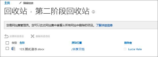 用于撤消删除已删除文档的管理员第二阶段回收站