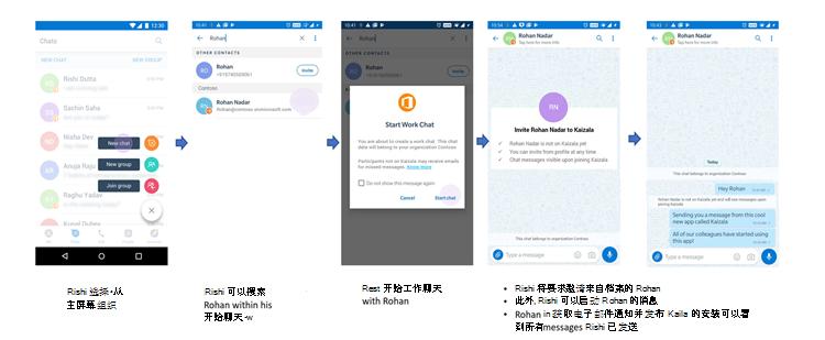 与不在 Kaizala 上的用户开始聊天的电话 UI 的图像。