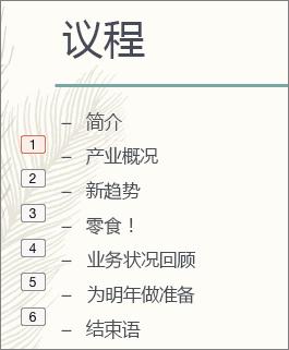列表中的每个项目符号在左侧的小框中显示动画的顺序