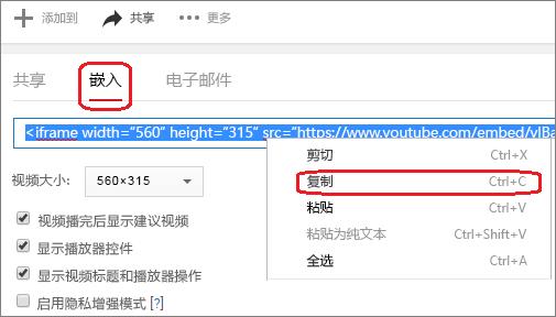 复制 iFrame 嵌入代码