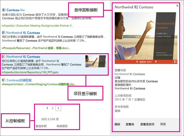 搜索结果的显示模板类型