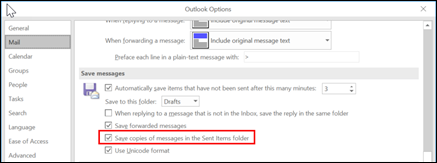 选中复选框以保存已发送邮件的副本。