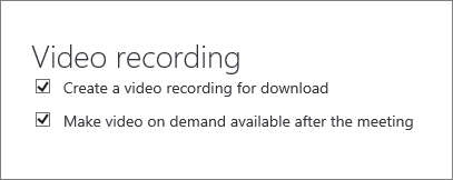 """""""会议详细信息""""页面上的""""启用会议录制""""复选框的屏幕截图。 默认情况下,此选项处于选中状态。"""