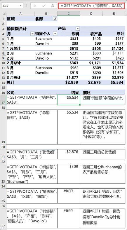 用于从 GETPIVOTDATA 函数检索数据的数据透视表的示例。