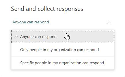 Microsoft Forms 中的共享选项
