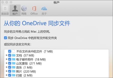 "OneDrive (Mac 版) 上的""同步文件夹""对话框"