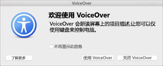 打开或关闭 VoiceOver