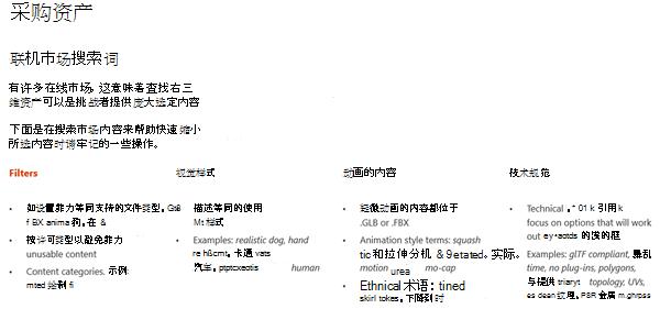 """3d 内容指南的 """"来源资源"""" 部分中的屏幕截图"""