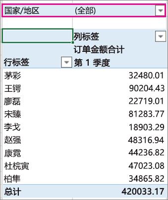 筛选数据透视表中的区域