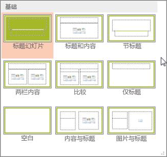 PowerPoint 中的幻灯片版式