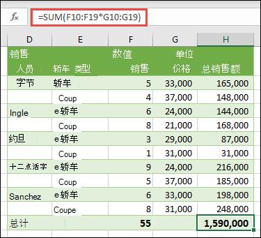 使用 = SUM 计算总计的单单元格数组公式 (F10: F19 * G10: G19)