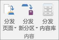 """""""课堂笔记本""""选项卡中的图标,包括""""分发页面""""、""""分发新分区""""和""""分发内容库""""。"""