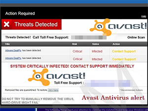Screen shot of the Avast support scam.