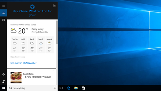 Screen showing personalized Cortana content.