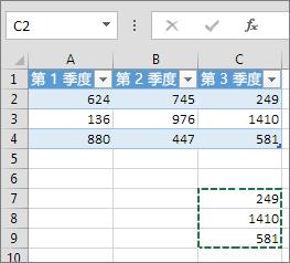 粘贴列数据扩展表并添加标题